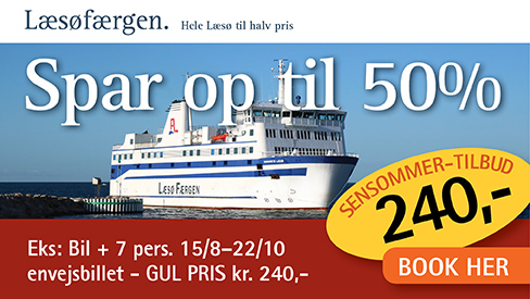Booking Læsøfærgen lavpris 2017 - bil plus 7 personer jun 240 kr.